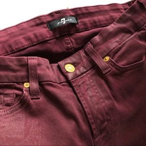 7FAM Burgundy coated Skinny Jeans 27
